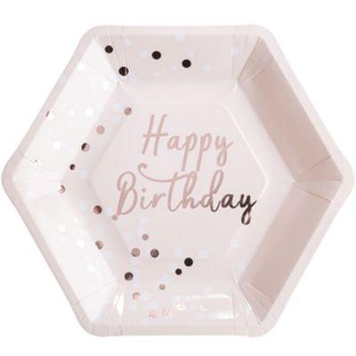 Lot de 8 assiettes en carton roses Happy birthday  par Arty Fêtes Factory