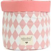 Panier de toilette en tissu Mambo Losange rose clair (25 x 26 cm) - Nobodinoz