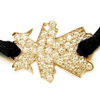 Bracelet cordon petite fille ou petit garçon empierré 15 mm (or jaune 750°) Loupidou