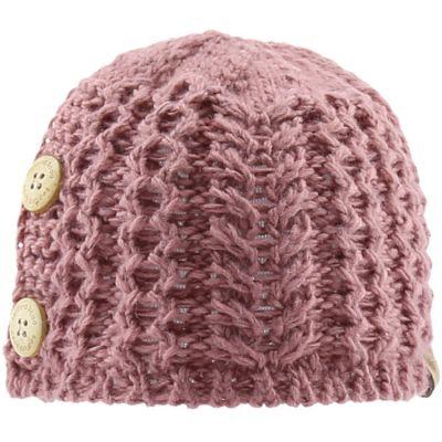 Bonnet en tricot avec boutons vieux rose (6-12 mois)
