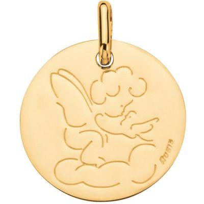Médaille Ange à l'oiseau 16 mm personnalisable (or jaune 750°)