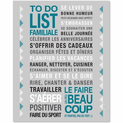 affiche encadrer to do list gris 40 x 50 cm par mes mots d co. Black Bedroom Furniture Sets. Home Design Ideas