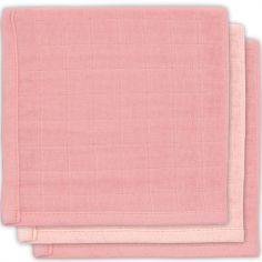 Lot de 3 mini langes hydrophiles en bambou rose (31 x 31 cm)