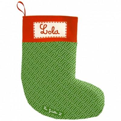 Chaussette de Noël vintage verte (personnalisable)