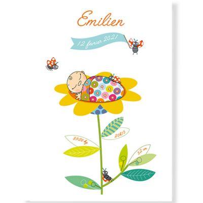 Affiche de naissance mixte fleur personnalisable (21 x 29,7 cm)  par Série-Golo