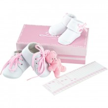 Coffret rose chaussures, chaussettes, doudou rose Coffret + pédimètre d1ff2d