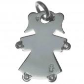 Pendentif petite fille ou petit garçon mains et pieds diamant 17 mm (or blanc 750°) - Loupidou