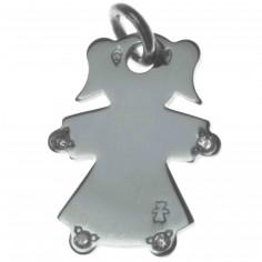 Pendentif petite fille ou petit garçon mains et pieds diamant 17 mm (or blanc 750°)