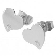Boucles d'oreilles coeur 7 mm (or blanc 750°)