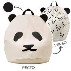 Pouf géant panda poignée noire (80 x 110 cm)