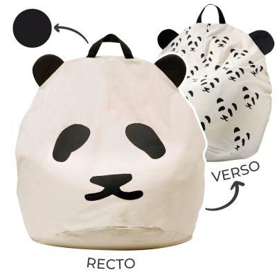 Pouf géant panda poignée noire (80 x 110 cm) BINI