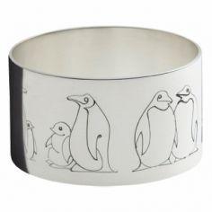 Rond de serviette Pingouins (métal argenté)