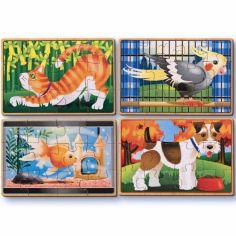 Set petits puzzles en bois Animaux domestiques (4 puzzles)