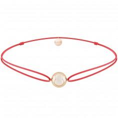 Bracelet cordon rouge Mini bola Joy (plaqué or rose)