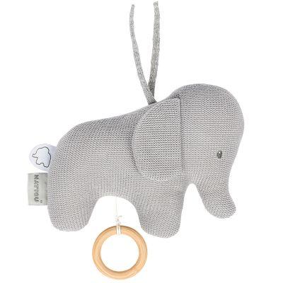 Peluche musicale à suspendre en tricot Tembo l'éléphant (21 cm)  par Nattou