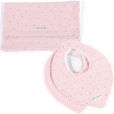 Coffret cadeau pochette et 2 bavoirs bandanas Petite Etoile vichy rose