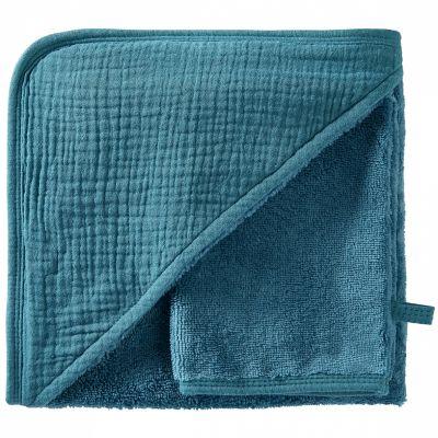 Cape de bain + gant en bambou vert paon blush Mix & Match (70 x 70 cm)  par BB & Co