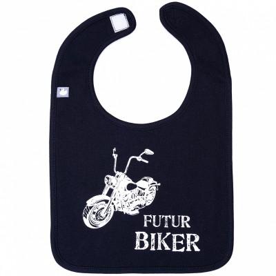 Bavoir à velcro Futur biker noir  par BB & Co