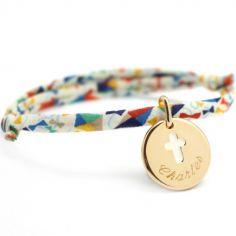 Bracelet cordon liberty médaille Croix ivoire plaqué or (personnalisable)