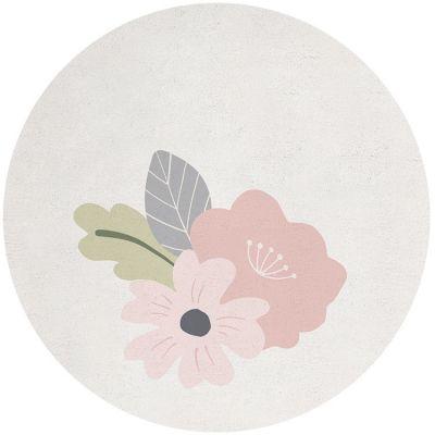 Tapis coton rond avec fleurs (150 cm) Lilipinso