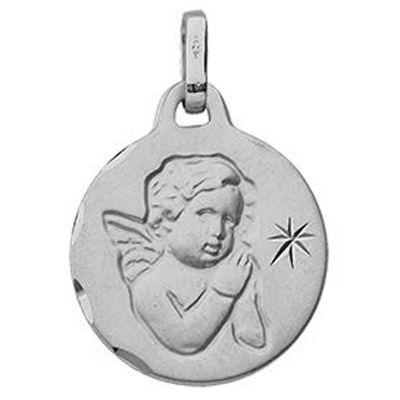 Médaille Ange et Etoile (or blanc 375°)  par Berceau magique bijoux