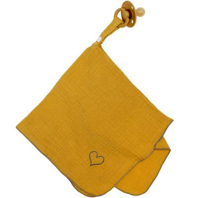 Doudou attache sucette en mousseline jaune moutarde BB & Co