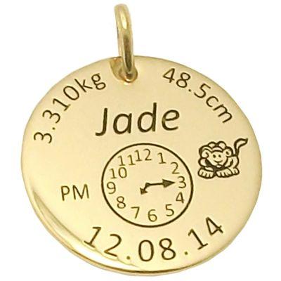 Médaille de naissance ronde (plaqué or jaune)  par Alomi