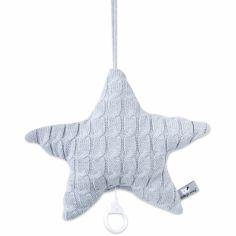Coussin musical étoile Cable Uni gris (30 cm)