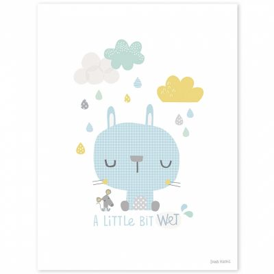 Affiche lapin Smile, it's raining by Dawn Machell (30 x 40 cm)  par Lilipinso