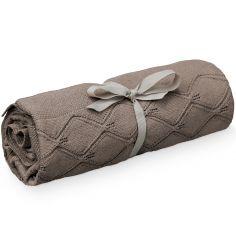 Couverture tricotée en coton bio chocolat (80 x 100 cm)