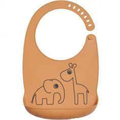 Bavoir silicone avec poche Deer friends orange