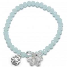 Bracelet Charm perles bleues charm bouquet de perles