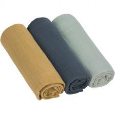Lot de 3 langes en mousseline de coton bleu (85 x 85 cm)