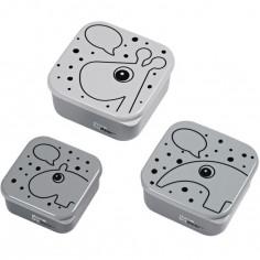 Lot de 3 boîtes à goûter Contour gris