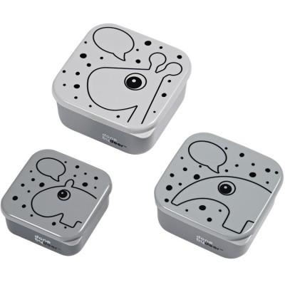 Lot de 3 boîtes à goûter Contour gris  par Done by Deer