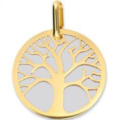 Médaille Arbre de vie personnalisable (acier et or jaune 750°)