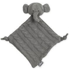 Doudou plat éléphant Cable gris (28 cm)