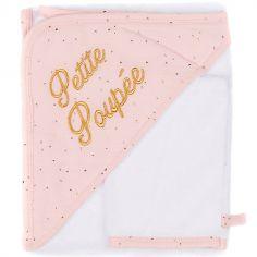 Cape de bain + gant Petite poupée rose à pois dorés (70 x 70 cm)