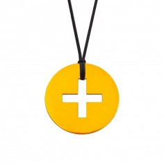 Collier cordon médaille Signes Croix Latine 16 mm (or jaune 750°)