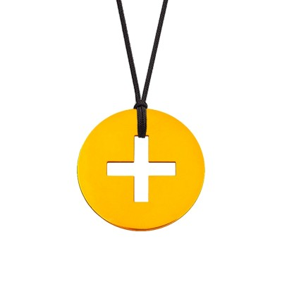 Collier cordon médaille Signes Croix Latine 16 mm (or jaune 750°) Maison La Couronne