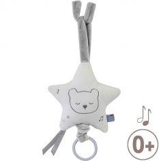 Peluche musicale à suspendre Les P'tits Dandys ours blanc (28 cm)