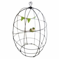 Cage décorative en fil de fer et guirlande fanion vert