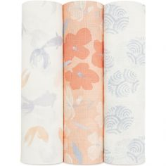 Lot de 3 maxi langes en coton Silky soft Koi Pond (120 x 120 cm)