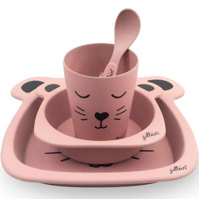 Coffret repas en bambou panthère rose (4 pièces)