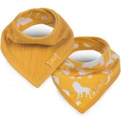 Lot de 2 bavoirs bandana Safari jaune