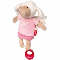 Peluche musicale mouton ange gardien rose (28 cm)