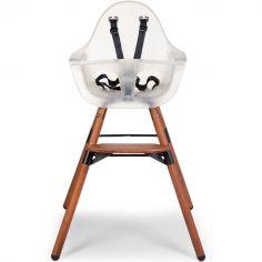 Chaise haute Evolu 2 en bois 2 en 1 noisette et transparent
