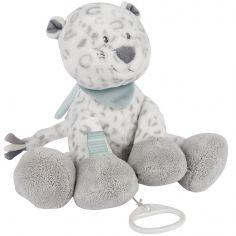 Doudou musical à suspendre léopard des neiges Léa (30 cm)