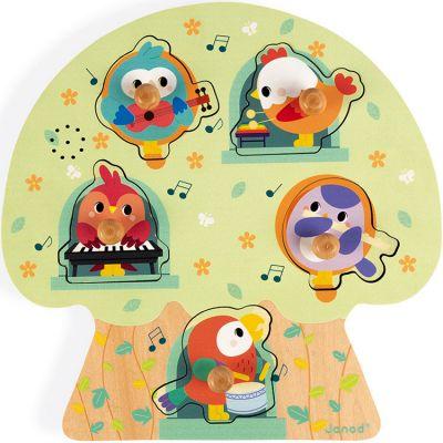 Puzzle musical à encastrer Les oiseaux en fête (5 pièces) Janod