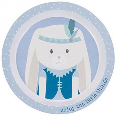 Assiette plate lapin Stars bleu  par Little Dutch